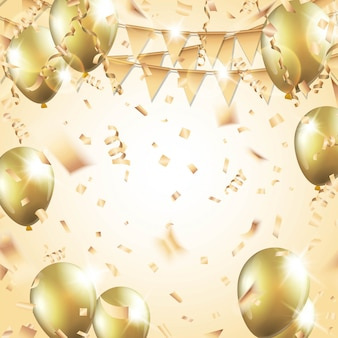 Goldballons, konfetti, luftschlangen und partyflagge auf goldhintergrund. illustration.