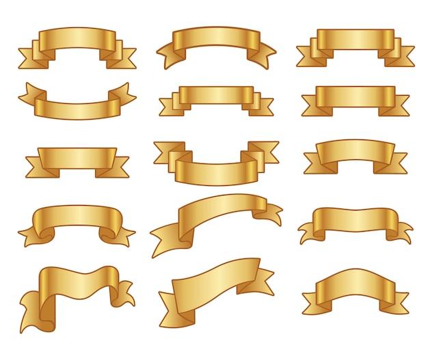 Goldband-fahnenvektorsatz