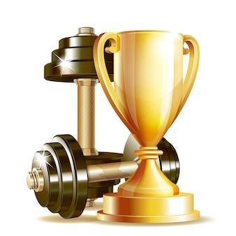 Goldbecher mit realistischen hanteln des metalls lokalisiert auf weißem hintergrund. symbol des fitness-champions. realistisch.