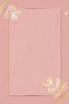 Goldblätter verziert auf dem hintergrundvektor der sozialanzeigen des goldrahmens