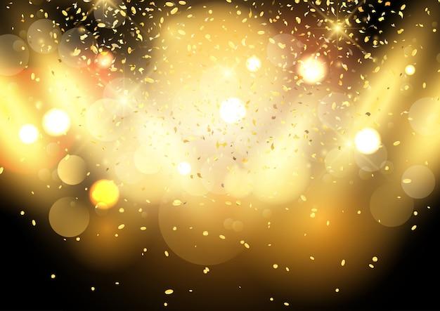 Goldbokeh beleuchtet hintergrund mit konfettis