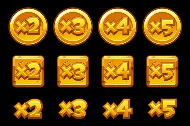 Goldbonuszahlen auf quadraten runder bretter. satz gold multiplizierte zahlen für das spiel.