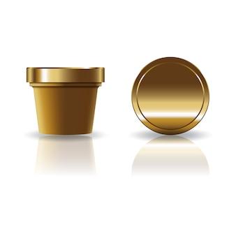 Goldbraune kosmetik oder runde schale des lebensmittels mit deckel.