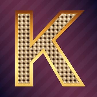 Goldbuchstabe k vektorschriftart für logo oder symbol