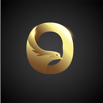 Goldbuchstabe o mit taube logo concept. kreative und elegante logo-design-vorlage.