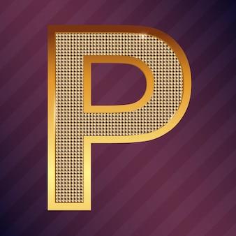 Goldbuchstabe p vektorschriftart für logo oder symbol