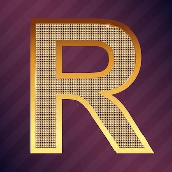 Goldbuchstabe r vektorschriftart für logo oder symbol