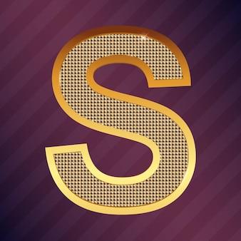 Goldbuchstabe s vektorschriftart für logo oder symbol