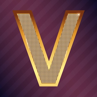 Goldbuchstabe v vektorschriftart für logo oder symbol
