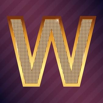 Goldbuchstabe w vektorschriftart für logo oder symbol