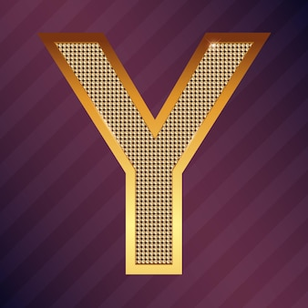 Goldbuchstabe y vektorschriftart für logo oder symbol