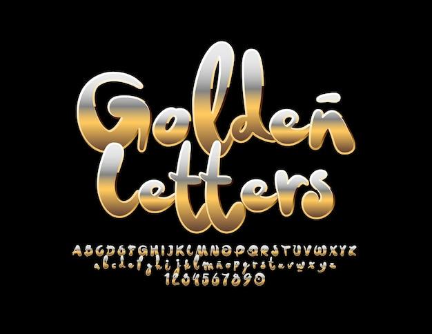 Goldbuchstaben, zahlen und symbole. handgeschriebene kreative schriftart. künstlerisches luxusalphabet