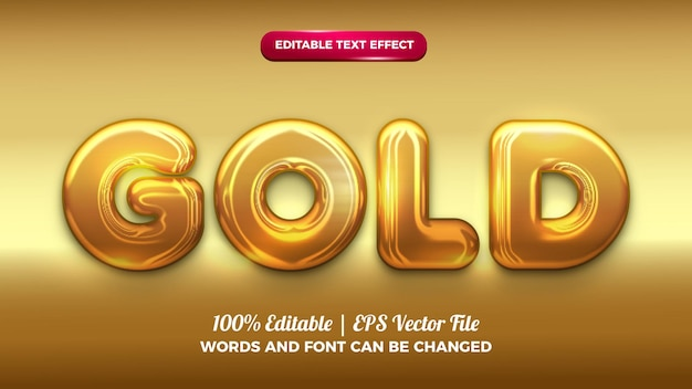 Goldchrom fetter bearbeitbarer 3d-texteffekt