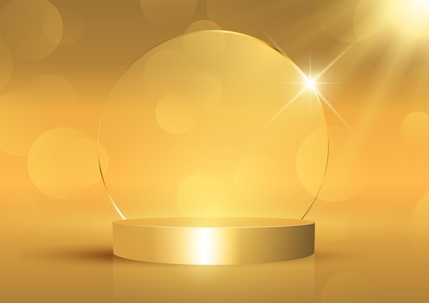 Golddisplayhintergrund mit leerem podium