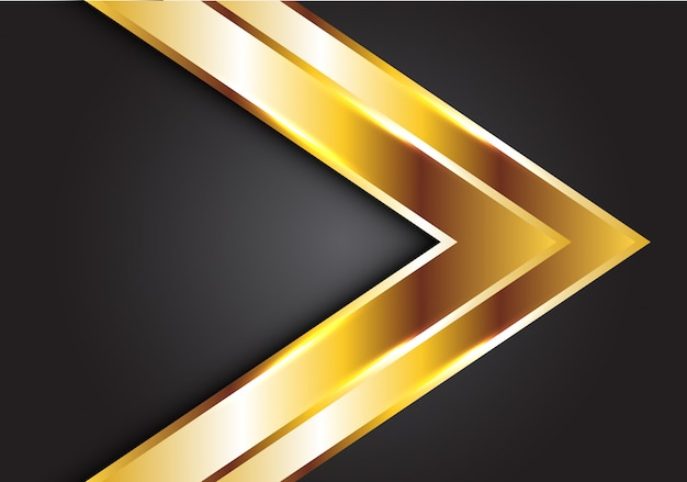 Golddoppelpfeil auf grauem futuristischem luxushintergrund.