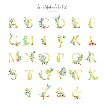 Golden alphabet collection mit floralen ornamenten