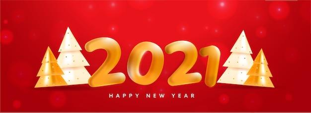 Golden balloon 2021 nummer mit glänzenden 3d-weihnachtsbäumen auf rotem bokeh-hintergrund für ein frohes neues jahr.