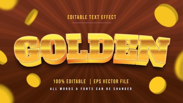 Golden bar münze 3d-text-stil-effekt. bearbeitbarer illustrator-textstil.