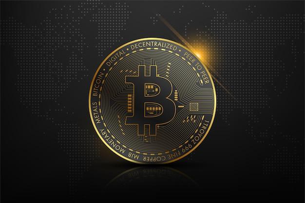 Golden bitcoin blockchain technologiekonzept geeignet für zukünftige technologie banner oder cover Premium Vektoren