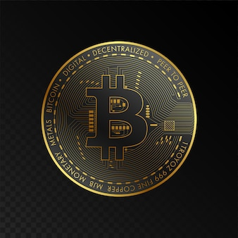 Golden bitcoin blockchain technologiekonzept geeignet für zukünftige technologie banner oder cover
