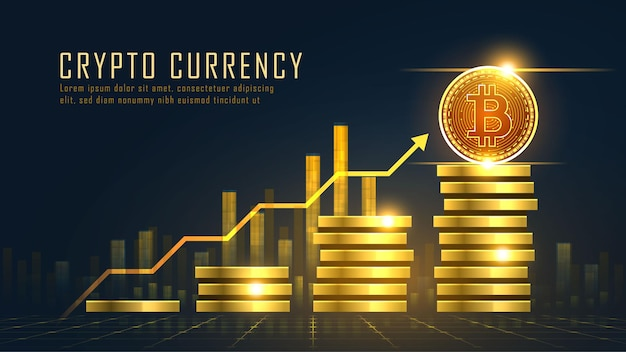 Golden bitcoin blockchain technologiekonzept