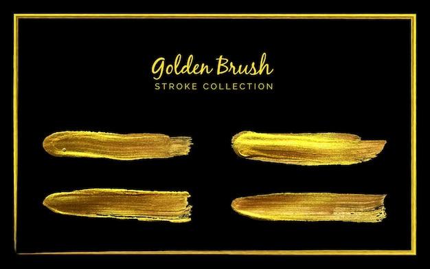 Golden brush stroke collection set auf schwarzem hintergrund oder pinsel