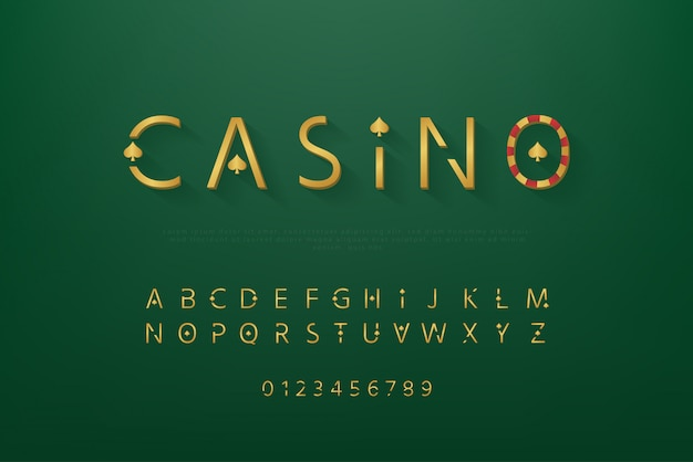 Golden casino theme schriftart gesetzt