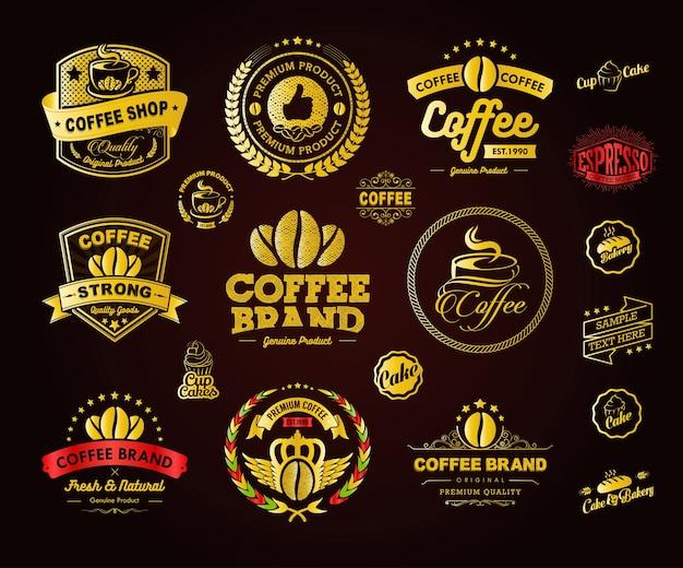 Golden coffee logos abzeichen und etiketten element