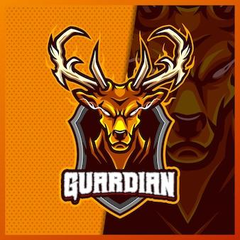 Golden deer horn maskottchen esport logo design illustrationen vorlage, moose buck cartoon-stil