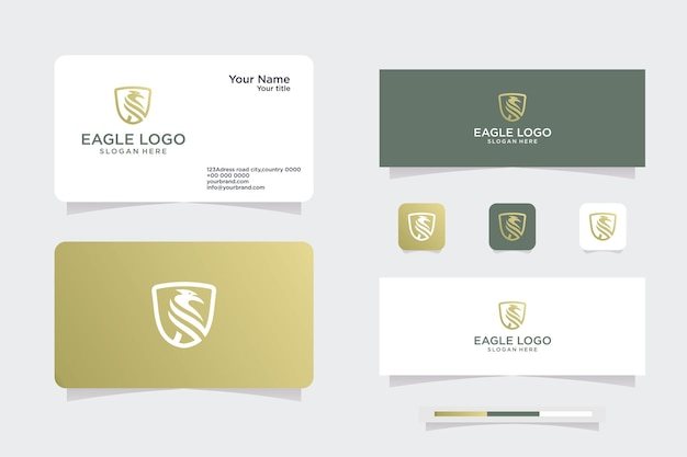 Golden eagle logokonzept - vektorillustrationsvorlagen, emblemdesigns, logos und visitenkartendesigns