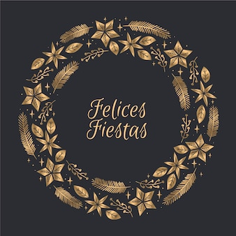 Golden felices fiestas konzept