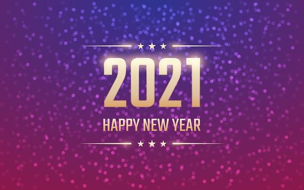 Golden frohes neues jahr 2021 mit bokeh