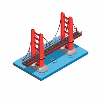 Golden gate bridge, san francisco, miniatur-wahrzeichen gebäude. rote brücke im meer mit blauem boot unter illustration im isometrischen flachen stil