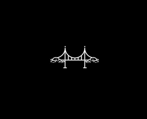 Golden gate bridge. vektor-wahrzeichen flache linie kunst-symbol.