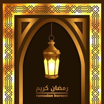 Golden gate windows-moschee mit laternenlampe für islamisches ereignis