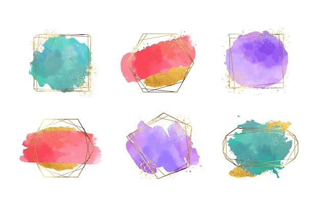 Golden glitter frame-auflistung mit aquarell pinselstrichen