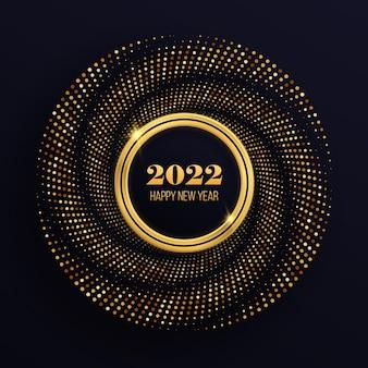 Golden glitzernde rahmen mit luxuriösen leuchtenden punkten festlicher kreis für grafikdesign