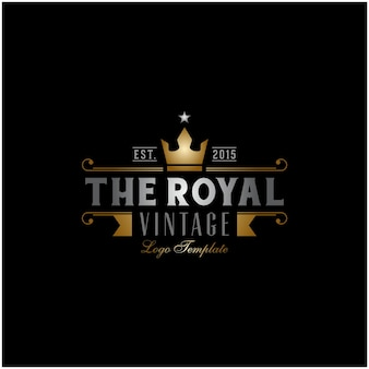 Golden king crown royal vintage retro classic luxury label logo-design