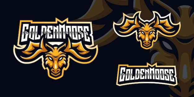 Golden moose gaming maskottchen logo für esports streamer und community