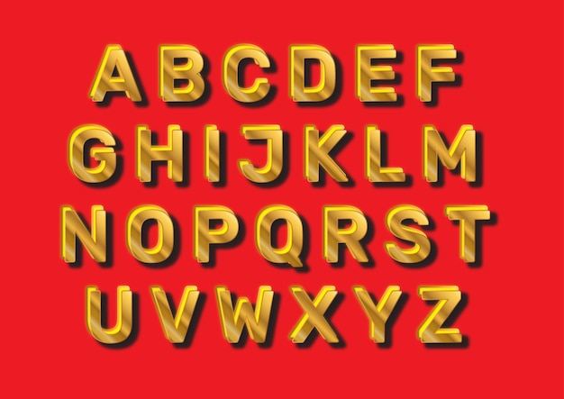 Golden red christmas alphabets set
