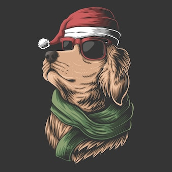 Golden retriever hund, der eine weihnachtsmütze für weihnachten trägt