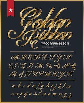 Golden ribbon typografie schriftart
