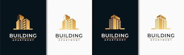 Golden set gebäude logo design inspiration