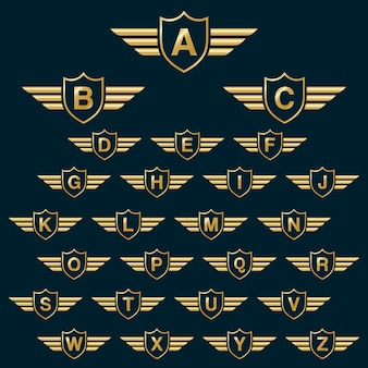 Golden shield gewinnt mit großbuchstaben alphabet logo-symbol mit großbuchstaben. golden shield badge design-vorlage elemente - buchstabe a bis z.