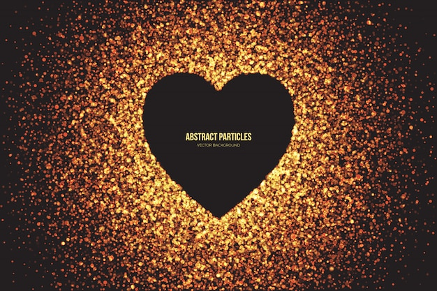 Golden shimmer glowing particles heart abstrakter hintergrund