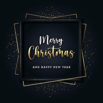 Golden square weihnachtsgrußkarte mit glitzer und goldlinien