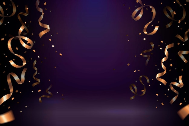Golden streamer konfetti auf lila hintergrund für designzwecke