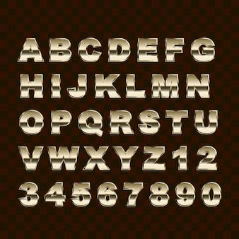 Golden style großbuchstaben alphabet buchstaben und zahlen sammlung