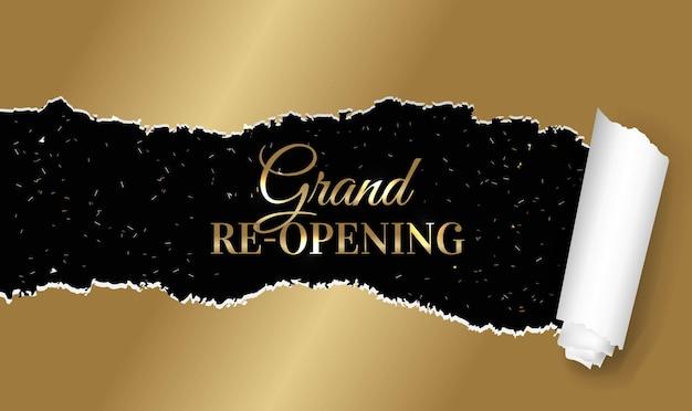 Golden torn paper grand opening