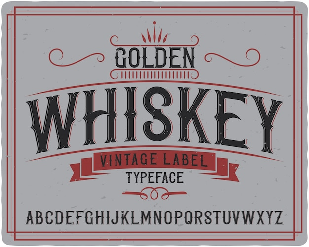 Golden whisky label schrift
